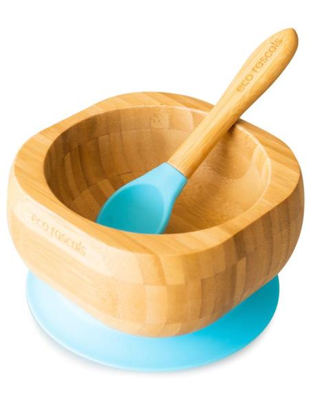 Bamboe Kom + Lepel + Zuignap Blauw
