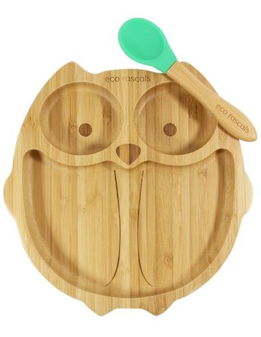 Eco Rascals Uil Bamboe Bord + Lepel + Zuignap Groen