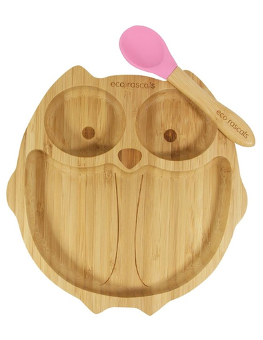 Uil Bamboe Bord + Lepel + Zuignap Roze