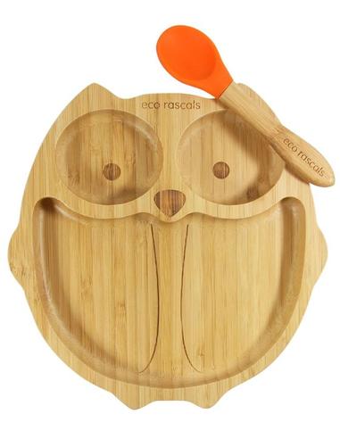 Eco Rascals Uil Bamboe Bord + Lepel + Zuignap Oranje