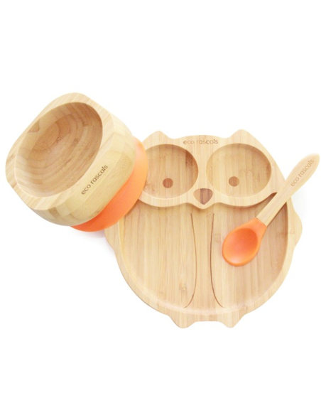 Uil Bamboe Bord + Lepel + Zuignap Oranje