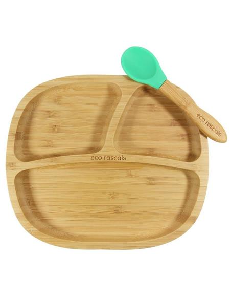 Bamboe Kleuterbord + Lepel + Zuignap Groen