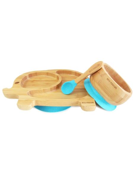 Olifant Bamboe Bord + Lepel + Zuignap Blauw