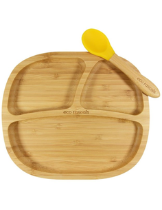 Bamboe Kleuterbord + Lepel + Zuignap Geel