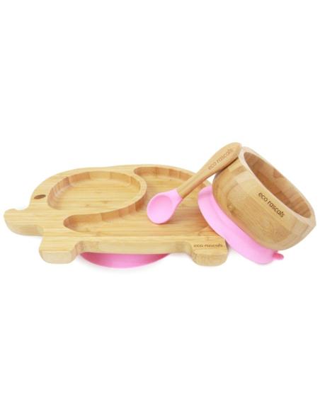 Olifant Bamboe Bord + Lepel + Zuignap Roze