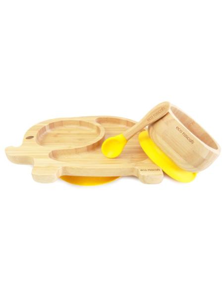 Olifant Bamboe Bord + Lepel + Zuignap Geel