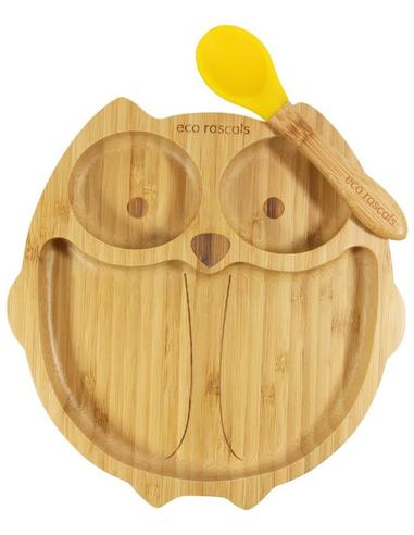Eco Rascals Uil Bamboe Bord + Lepel + Zuignap Geel