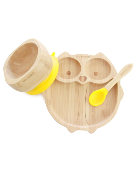 Uil Bamboe Bord + Lepel + Zuignap Geel