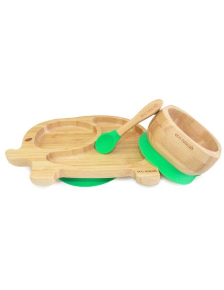 Olifant Bamboe Bord + Lepel + Zuignap Groen