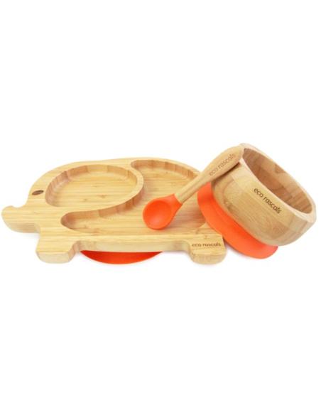 Olifant Bamboe Bord + Lepel + Zuignap Oranje