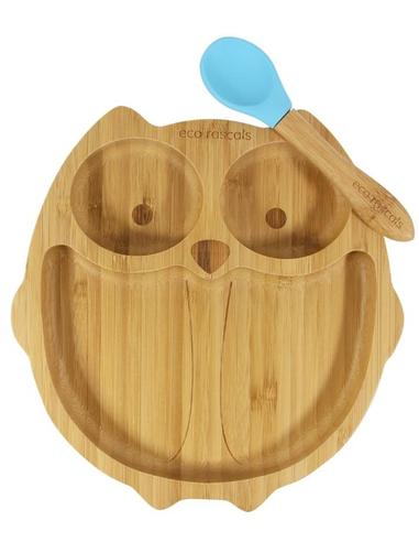 Eco Rascals Uil Bamboe Bord + Lepel + Zuignap Blauw