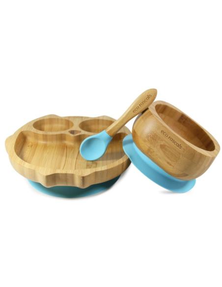 Uil Bamboe Bord + Lepel + Zuignap Blauw