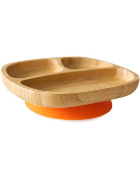 Bamboe Kleuterbord + Lepel + Zuignap Oranje
