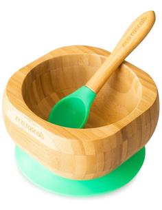 Bamboe Kom + Lepel + Zuignap Groen
