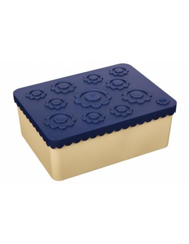 Lunchbox Bloemen blauw + beige 3 compartimenten