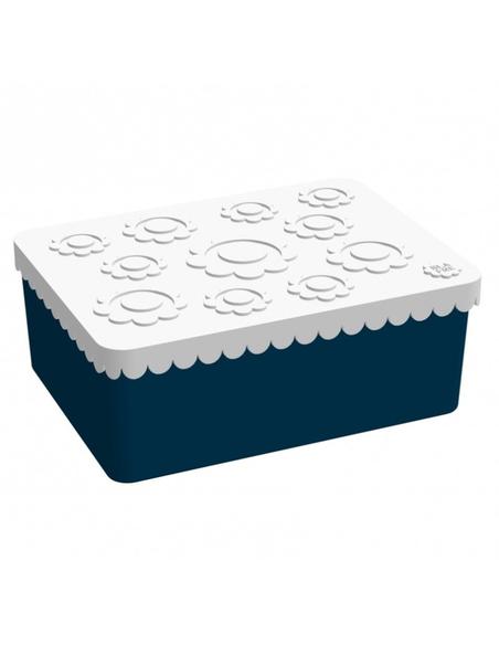 Lunchbox Bloemen wit + donkerblauw 3 compartimenten
