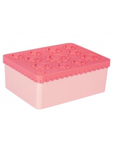 Lunchbox Bloemen roze 3 compartimenten