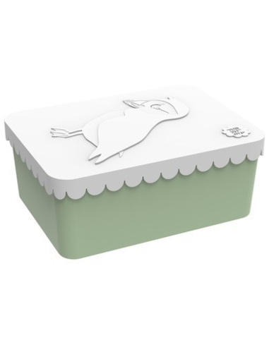 Blafre lunchbox 1 compartiment puffin white green