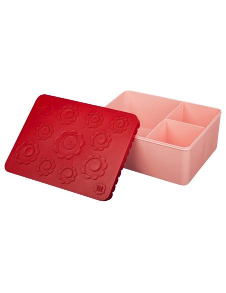 Lunchbox Bloemen rood + roze 3 compartimenten