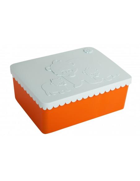 Lunchbox Beer oranje + lichtblauw 3 compartimenten