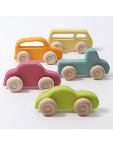 Grimm's Houten Auto's Slimline Pastel (5 stuks)