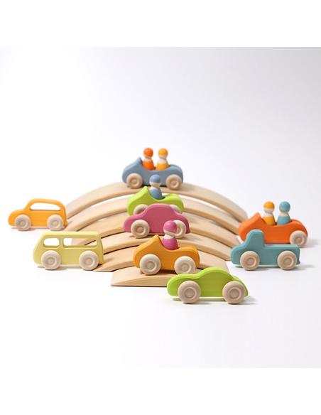 Houten Auto's Slimline Pastel (5 stuks)
