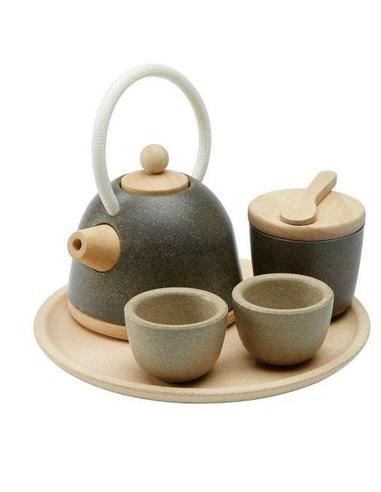 Houten theeservies Tea set