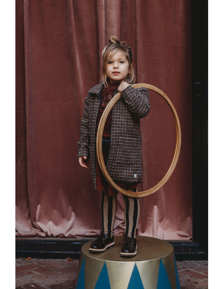 Winterjas Wool Check - Chocolate
