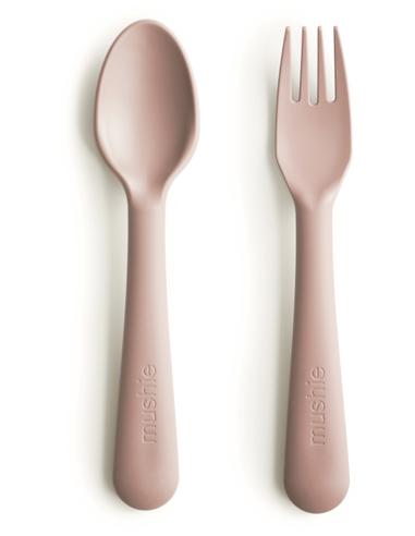 Mushie Kinderbestek vork en lepel - Blush