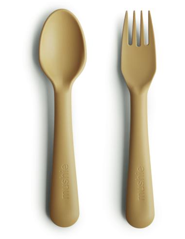 Mushie Kinderbestek vork en lepel - Mustard
